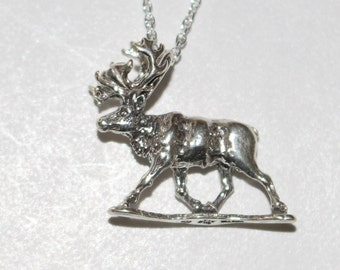 Sterling Silver 3d CARIBOU Pendant AND 20 Inch Chain