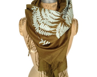 Fern Leaf Printed Scarf. Sage green silkscreen print on espresso brown linen weave pashmina. Nature, botanical print. More colors available.