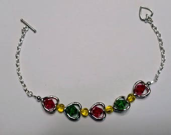 Beautiful Hearts Filled with Red and Green Crystal Bracelet
