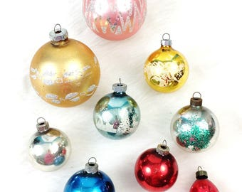 9 Vintage Shiny Brite Glitter Mica Stencil & Solid Red/Blue Christmas Ornaments