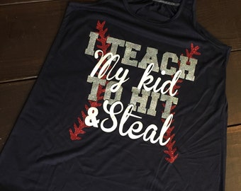 I Teach My Kid to Hit and Steal - Baseball Tank - Navy