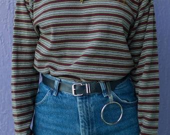 Vintage Striped Turtle Neck