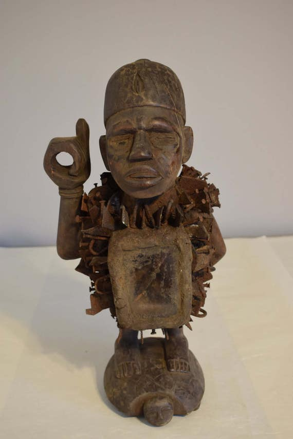 African Statue Nail Blade Fetish Bakongo Yombe Tribe Congo Handmade  Fetish  Blades Nails Mirror Power Statue