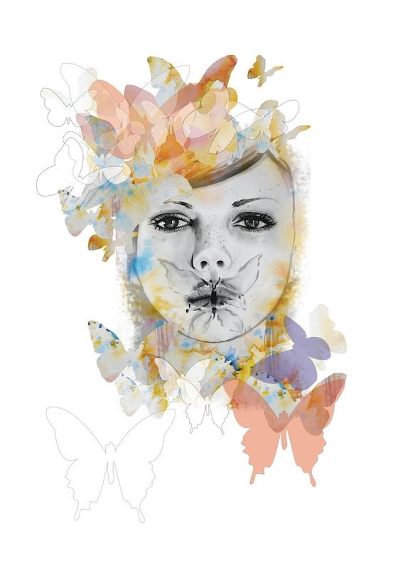 SALE! Papillon Girl - A4 Print