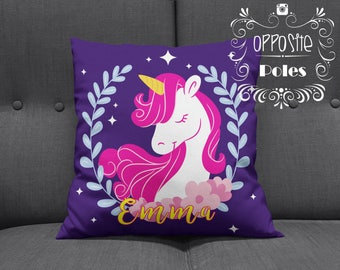 Sale !! Unicorn Pillow - Personalised Unicorn Pillow - Pillow girls room decor - kids room decor - unicorns pillow cover - Free Shipping