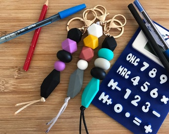 School's Back! School coloured silicone bead keyring, boho feather style.