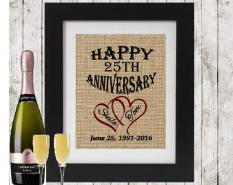 Happy Anniversary Sign - Anniversary Gift Personalized Burlap Print - Personalized Anniversary Gift - Hearts with Names Date and Year