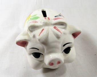 Vintage Piggy Bank - Floral Pig with Bow - Ceramic - Japan - Retro Bank - Mini Piggy Bank