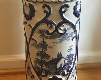 Beautiful blue and white hand painted vintage umbrella stand