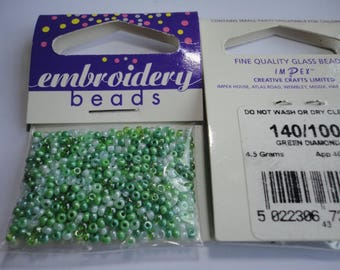 seed beads embroidery (100) 2mm thin green mix