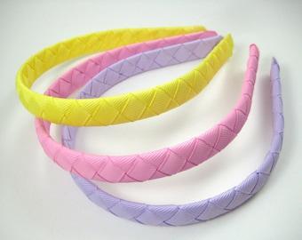 Spring Headband SET - Pink Headband - Yellow Headband - Lavender Purple Headband - Braided Woven Headband - Toddler Teenager Adult Headband