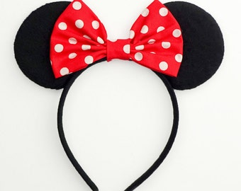 Minnie Mouse Ears Mickey Mouse Ears Classic Headband Cute Red Minnie Mouse Bow White Polkadot Minnie Mouse Headband Minnie Ears Mickey Ears