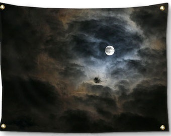 Moon Tapestry-Night Sky Tapestry-Full Moon Tapestry-Sky Tapestry-Canvas Wall Hanging-Black Wall Decor-Fine Art Tapestry-Outdoor Tapestry