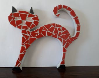 Little red mosaic cat
