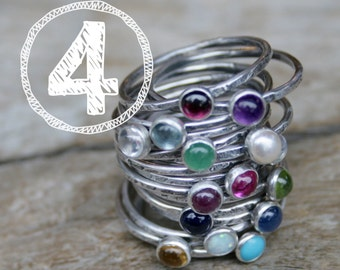 FOUR Birthstone Stacking Rings. Mom Jewelry, Mommy Rings, Stackers, Gemstones and Sterling Silver. Made To Order Custom Mommy Rings.