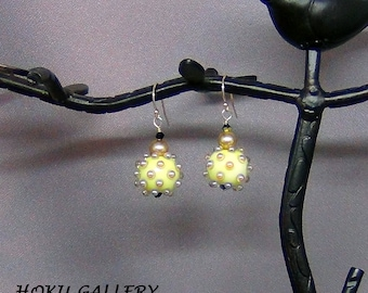 """Lampwork Glass Cream and Gold Bubble Earrings - Swarovski Crystals, 14k Gold Filled Earwires - 1.5"""" - Hand Crafted Artisan Jewelry"""