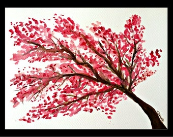 Cherry blossom original watercolor Japanese art Home decor art Floral art Oriental art Pink flowers 12 x 9 inches gift for her