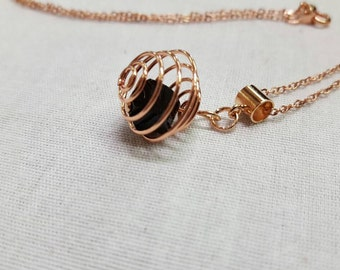 Crystal Rose gold pendant - black