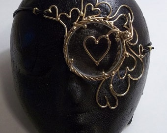 Bronze Queen of Hearts Steampunk Monocle with Targeting Reticle