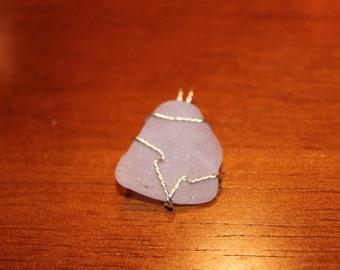 Purple wire wrapped sea glass pendant