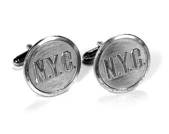 Steampunk Cufflinks Vintage NEW YORK CiTY NYC Transit Uniform Industrial Steam Engine Fathers Day Dad Gift - Jewelry by Steampunk Boutique