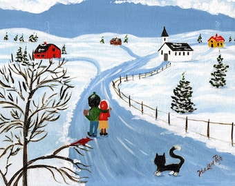 Nova Scotia Fine Art Print original art print Winter Walk  Winter Snow Chruch Wall art  Home Decor Nova Scotia office Canadian artist