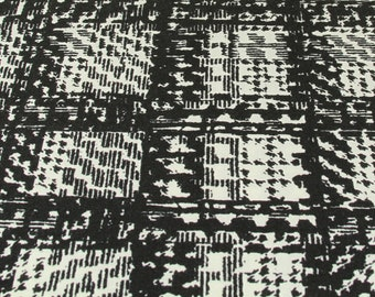 Black-White Check fabric - Knitted fabric - Apparel fabric - One Piece 1 1/8 yard