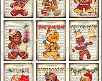 9 Vintage Grunge Vintage Retro Christmas Gingerbread Man Men Music Sheet ATC ACEO / Digital Collage Sheet Tags Images—Printable Ephemera