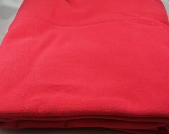 1 yard Red of Organic Cotton Sweatshirt Fleece Fabric  Made in the USA