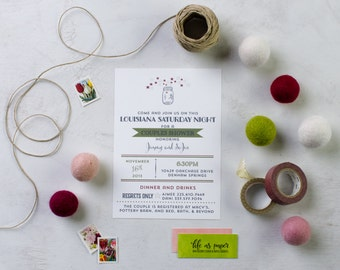 LOUISIANA SATURDAY NIGHT engagement party invitation - wedding shower - couples shower invite
