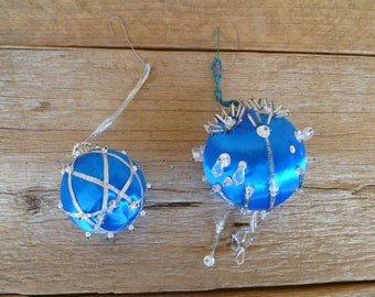 2 Beaded Christmas Ornaments Blue Silver Handmade