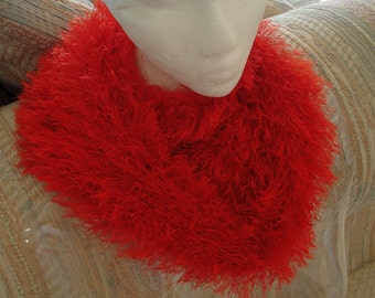 Cowl Neckwarmer Knit of Thick, Soft and  Warm Fun Fur, Bright Red