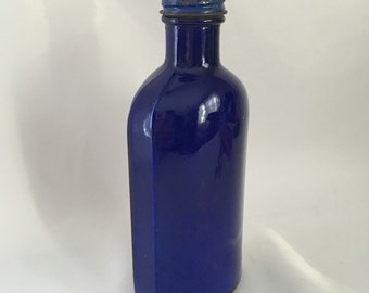 Vintage Blue Coral Car Wax Bottle, Cobalt Blue Glass, Home Decor, Collectble Glass 1950's