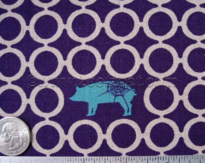 Rare Spider Web PIG CIRCLES Purple Turquoise Flax Cotton Linen Japanese Fabric Import - Medium Weight Canvas Kokka Out of Print