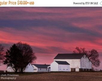 SALE 20% Off Farm Sunrise Photograph, Patterson Farm, Morning Light, Landscape Photography, Bucks County, Pennsylvania, Pink Sky, Homestead,