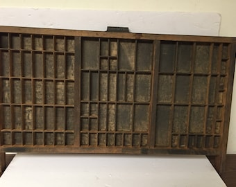 Vintage Wood Hamilton Printers Tray with Squared Handle Letterpress Type Tray