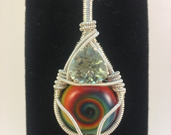 Prasiolite and Rainbow Cane Cab Wire Wrapped Pendant