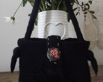 Black, Hand Felted Evening bag with flower, button, hand stitchery and beading embellishment