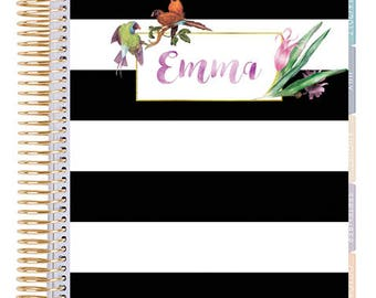 Custom Classic Planner Cover    Disc Bound planner cover   Custom Name    Printable Planner Cover   Floral   Black white Stripe   Mambi