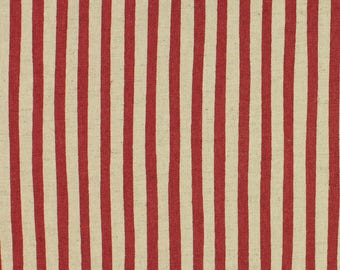 Linen Mix Stripe fabric from Sevenberry in red/cream Fat Quarter