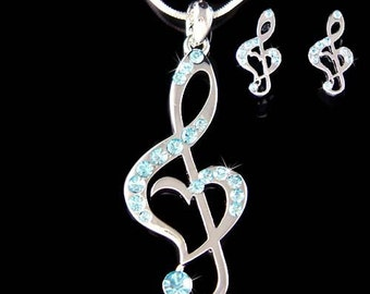 Baby Blue Swarovski Crystal TREBLE G CLEF Love Music Musical Note Heart Necklace Earrings Set Jewelry Best Friend Musican Christmas Gift New