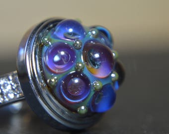 Collectable Artisan Handmade Lampwork Glass Snap Charm - Interchangeable Jewellery - Snap, Popper, Chunk, Button