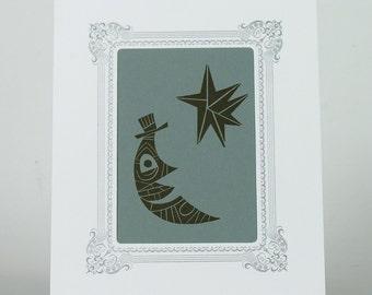 MOON and STAR STARDUST Letterpress Print Jim Flora in White Vignette Ready for Framing