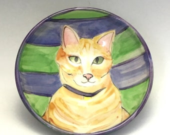 Kitty Bowl with Tabby Cat on Stripes