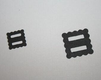 Scallop Belt Buckle Black Die Cuts lot of 24 for Scrapbooking