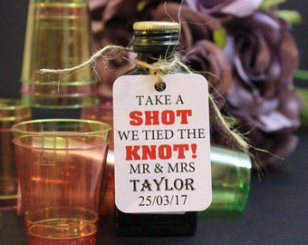 Take a Shot Wedding Favours, Personalised Card Tags for Guest Favours, Printed Cards Bride & Groom with Wedding Date,  Free Drink ideas TGS5