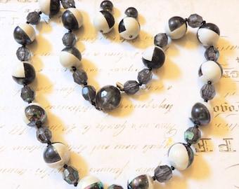 Austria Vintage Necklace Earrings Vintage Jewelry Set Black White