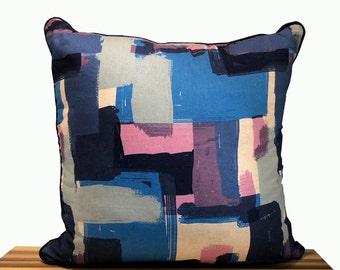 Navy Brushstrokes Pillow