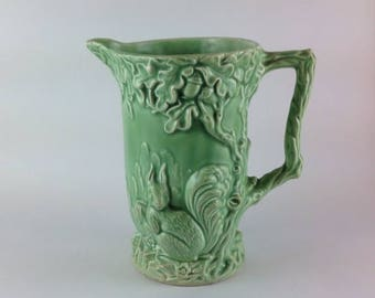 Rare Antique Wade  Pottery Jug / Pitcher Squirrel & Acorns with Bird 154 Woods Large Green Jug