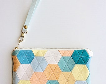 Felt Zipper Pouch Wristlet Wallet Colorful Bags Luxury Wool Bag Wristlet Pouch Zipper Bag Zipper Wallet Ombre Bag Mermaid Handbag